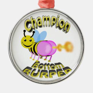 champion bottom burper metal ornament