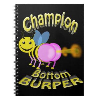 champion bottom burper notebook