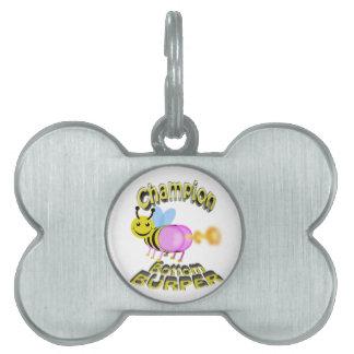 champion bottom burper pet name tag