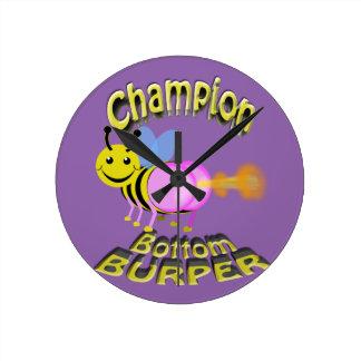 champion bottom burper round clock