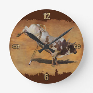 Champion Bucking Rodeo Bull on faux Parchment Round Clock