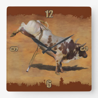 Champion Bucking Rodeo Bull on faux Parchment Square Wall Clock