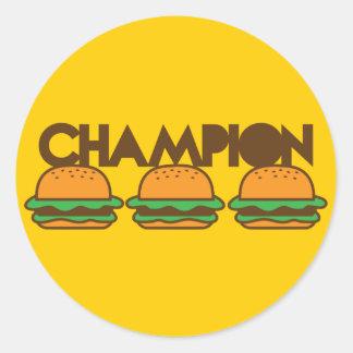 CHAMPION BURGERS yum! Classic Round Sticker