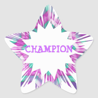 CHAMPION :  Edit text replace with your own Star Sticker