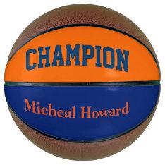 Champion In Dark Blue And Orange Basketball at Zazzle