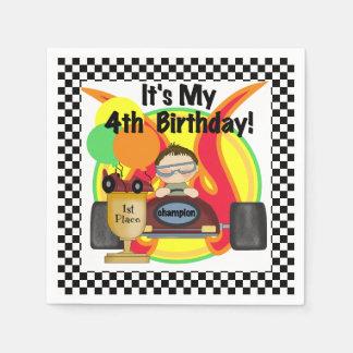Champion Racing Car 4th Birthday Paper Napkins