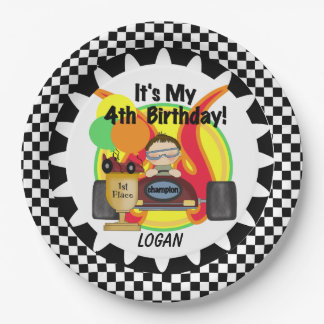 Champion Racing Car 4th Happy Birthday Paper Plate