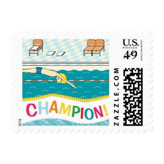 Champion Swimmer Congratulations Stamp