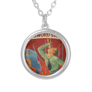 Champion Sword Swallower Silver Plated Necklace