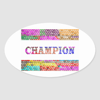 CHAMPION Text Oval Sticker