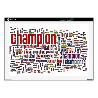 """Champion word cloud 17"""" laptop decal"""