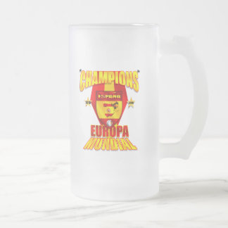 Champions Europa 2008 Mundial 2010 Frosted Glass Beer Mug