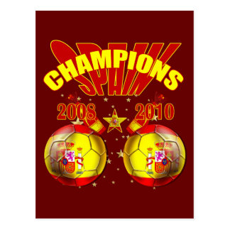 Champions Spain Europe 2008 World 2010 Postcard