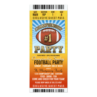 Championship Sunday Football Party 4x9.25 Paper Invitation Card