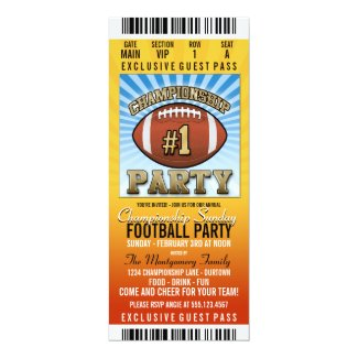 Championship Sunday Football Party Invitation Card