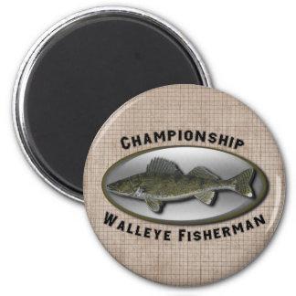 Championship Walleye Fisherman 2 Inch Round Magnet