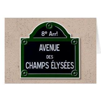 Champs Elysee Sign Note Card