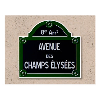 Champs Elysee Sign Post Card