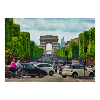 Champs Elysees. View of the Triumphal Arch. Poster