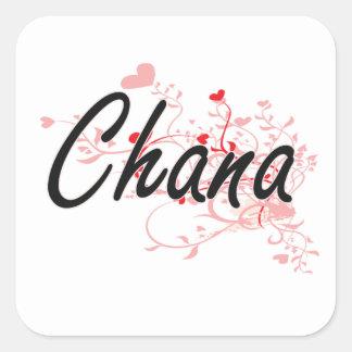 Chana Artistic Name Design with Hearts Square Sticker