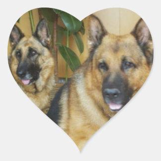 Chana & Win Tow Lovely German Shepherd Dogs Heart Sticker