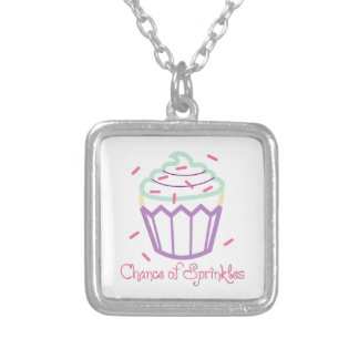 CHANCE OF SPRINKLES APPLIQUE SQUARE PENDANT NECKLACE
