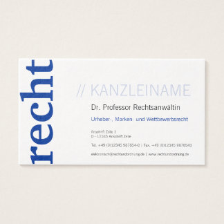 Chancellery visiting card blue