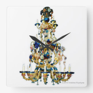 CHANDELIER 4 SQUARE WALL CLOCK