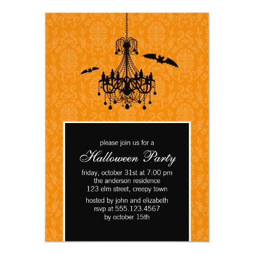 Chandelier and Bats Halloween Party Card