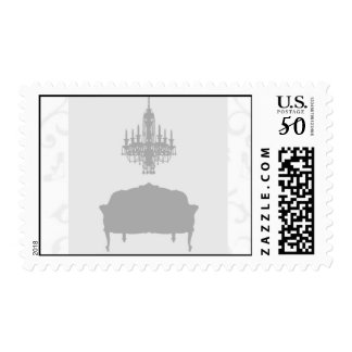 Chandelier and chair silhouette postage