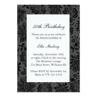 Chandelier and  Damask Birthday Invitation