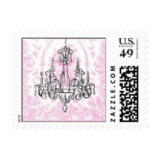 Chandelier and Pink Toile Postage Stamps