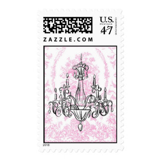 Chandelier and Pink Toile Postage Stamps Medium