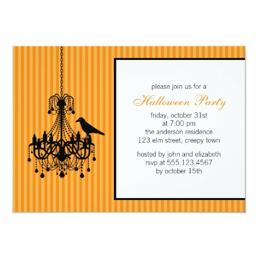 Chandelier and Raven Halloween Party Invitations