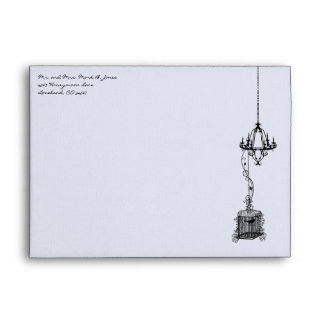 Chandelier Bird Cage Damask Wedding Envelopes