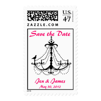 Chandelier Bird Save the Date Postage Stamps