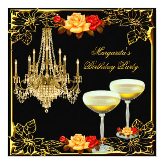 Chandelier Birthday Party Vintage Champagne Card