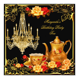 Chandelier Birthday Party Vintage Red Gold Rose Card
