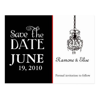 Chandelier Black and white save the date Post Cards