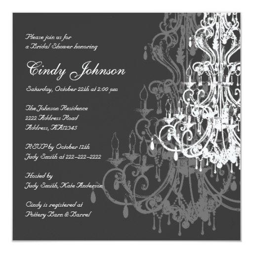 Chandelier Bridal Shower Invitation Card