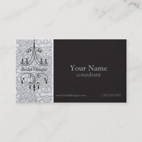 Chandelier brocade in silver black bridal shop business card chandelier brocade in silver black bridal shop business card reheart Gallery