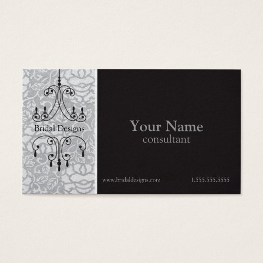Chandelier Brocade In Silver Black Bridal Business Card