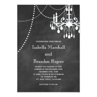 "Chandelier Chalkboard Wedding Invitation 5"" X 7"" Invitation Card"
