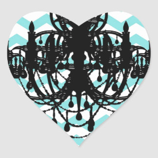 Chandelier Chevron Print Pattern Vintage Heart Sticker