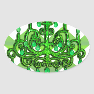 Chandelier Chevron Print Pattern Vintage Jewel Oval Sticker