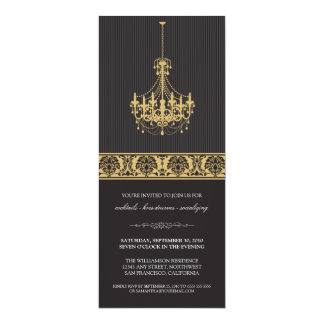 Chandelier Cocktail Party Invite (black/gold)