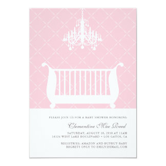 Chandelier Crib Baby Girl Shower Invitation