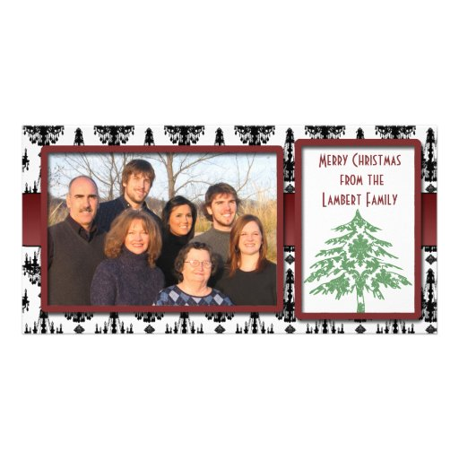 Chandelier Damask Green Damask Tree Photo Cards