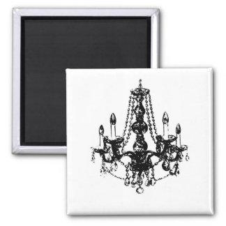 Chandelier Elegance ~ Magnet Black White Retro