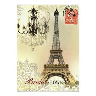 chandelier floral lace vintage paris eiffel tower card